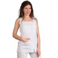 Bata blanca con bolsillo y cremallera para peluquería y estética talla 2XL