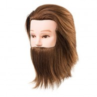 Cabeza de Maniquí Daniel con barba Largo 15-18 cm 100% Cabello 100% Natural