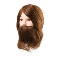 Cabeza de Maniquí Daniel con barba Largo 15-18 cm 100% Cabello Natural