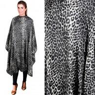 Capa leopardo blanca negra  150 x 145  Corte y tintura con Velcro | Mejor precio capas con velcro | comprar Capa de corte leopardo Oferta  Peinadora con velcro