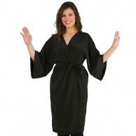 Kimono cruzado Negro para peluquería estética vestuario laboral |  Ropa negra peluquería barata | kimono peluquería negro | kimono estética oferta | Bata peluqueras
