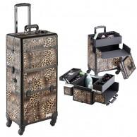 Maleta Trolley Leopardo Profesional peluquería 2 en 1 con 4 cuerpos