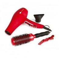 Corioliss FLOW RED PACK Secador de Pelo + Cepillo + Clips