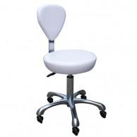 Silla Fashion Con Respaldo Blanca regulable con bomba hidráulica  | Taburete con respaldo blanco para peluquería barato | Comprar silla para peluqueras color blanca al mejor precio