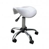 Silla Jockey Taburete urban ergonómico regulable con bomba hidráulica Blanco | Taburete blanco peluquería clasico barato | Comprar sill amontar color blanco peluquería al mejor precio