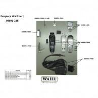 Wahl Hero 08991-216 Despiece repuesto original , cuchillas, carcasas, motor, soporte cuchillas,circuito, muelle precisión, transformador   Repuesto wahl máquina corta pelos Hero despiece