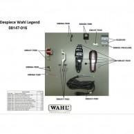Wahl Legend 08147-016 Despiece repuesto original , cuchillas, carcasas, motor, soporte cuchillas,circuito, muelle precisión, transformador, portacuchillas, tornillos, corredera, palanca, interruptor, cable