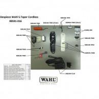 Wahl Super Taper Cordless 08591-016 Despiece repuesto original , cuchillas, carcasas, motor, batería, soporte cuchillas,circuito, muelle precisión, transformador, portacuchillas, tornillos, corredera, palanca, interruptor, cable