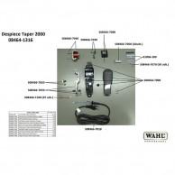 Wahl Taper 2000 08464-1316 Despiece repuesto original , cuchillas, carcasas, motor, soporte cuchillas,circuito, muelle precisión, transformador, portacuchillas, tornillos, corredera, palanca, interruptor, cable