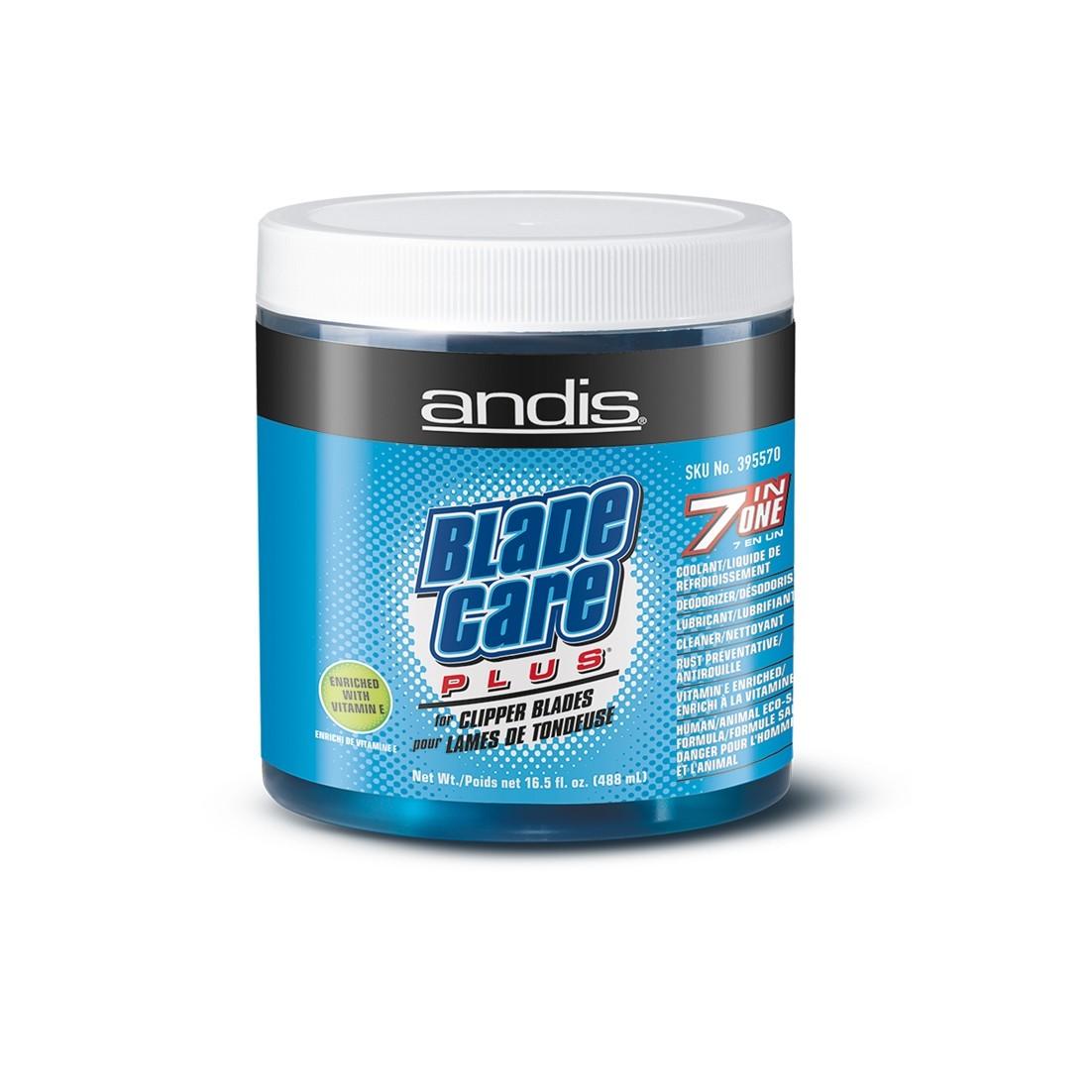 Andis Blade Care Plus. Bote 473,2ml  7 en 1 Líquido limpiador Refrigerante, desodorante, lubricante, antióxido cuchillas