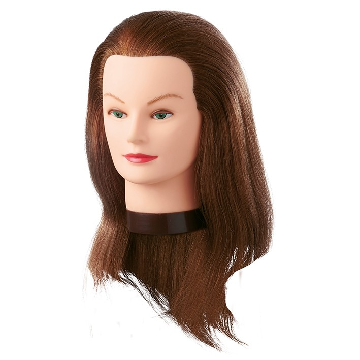 Cabeza Maniquí Leia 25-40 cm pelo natural cabello 100%