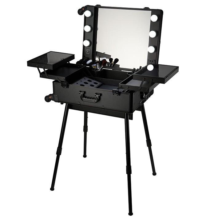 Maletín para maquilladores con Luz patas y espejo - Negro
