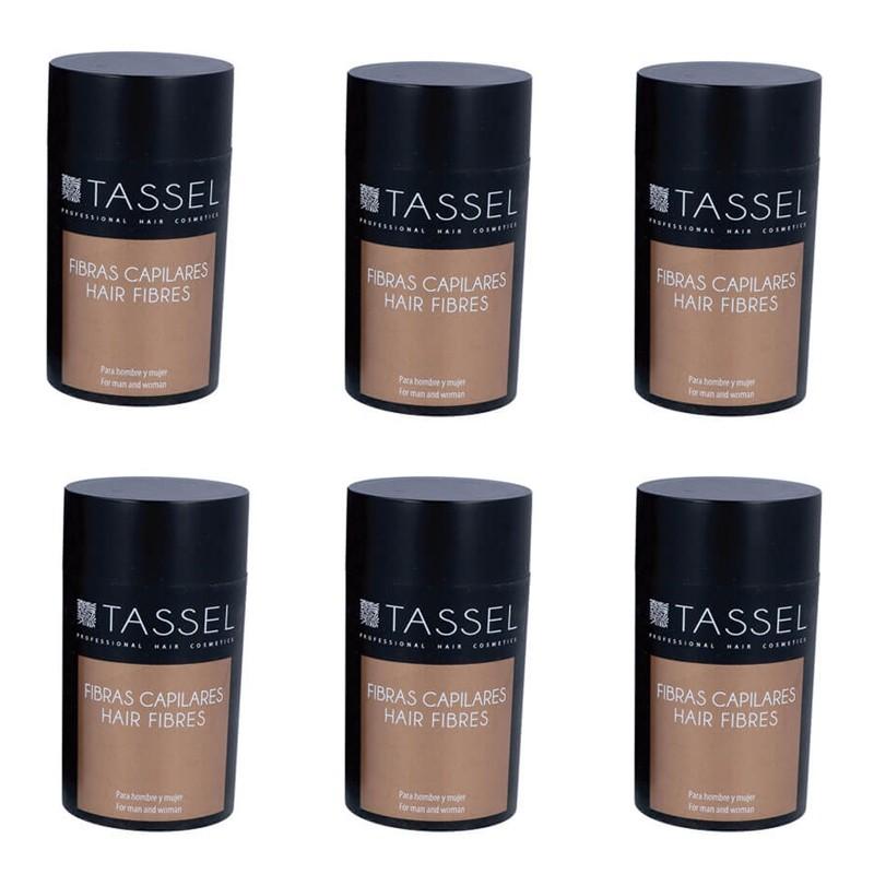 Maquillajes Capilares Tassel Fibras para el Cabello disimular calvicie Hombre y Mujer disponible en 6 tonos, Negro, Gris claro, Rubio Oscuro, Castaño oscuro, castaño medio y castaño claro.