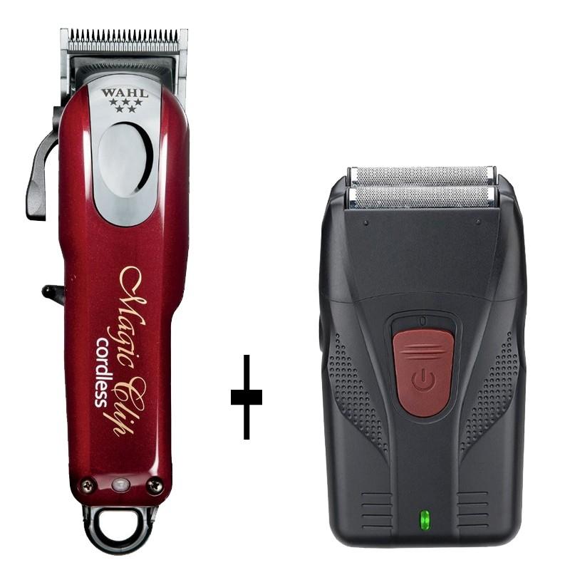 Wahl Magic Clip Cordless a Batería + 8 Recalces Premium + Máquina Shaver Afeitadora Profesional Regalo